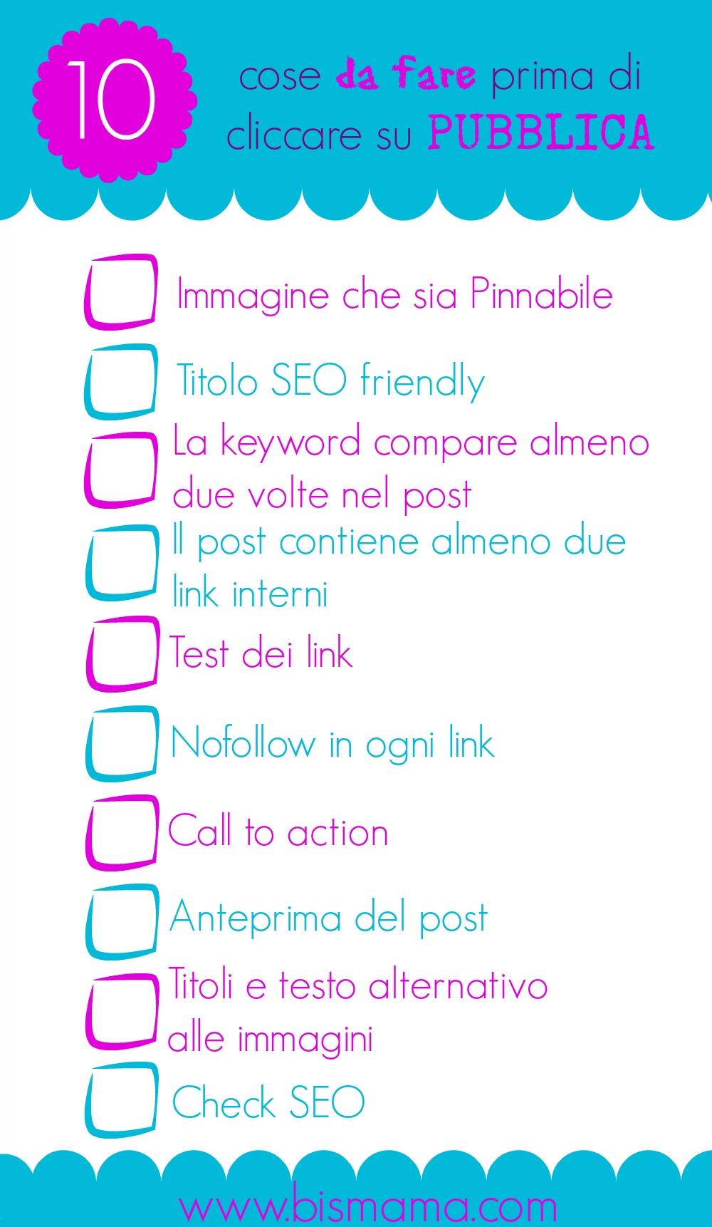 checklist prima di pubblicare
