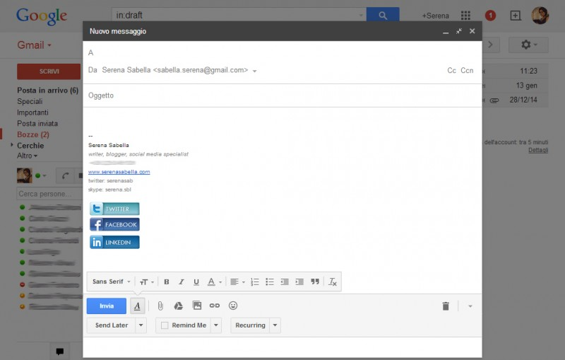 Icone social nella firma di Gmail