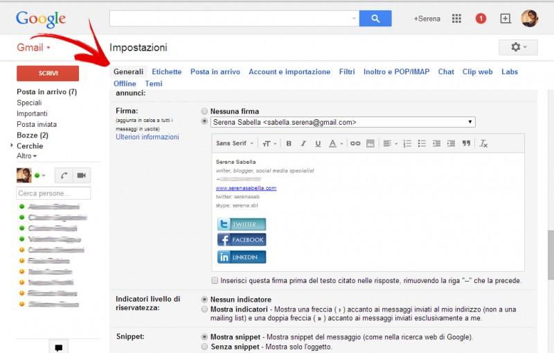 impostazioni firma gmail